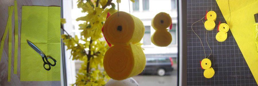 Osterdekoration aus Filz: kleine Küken basteln