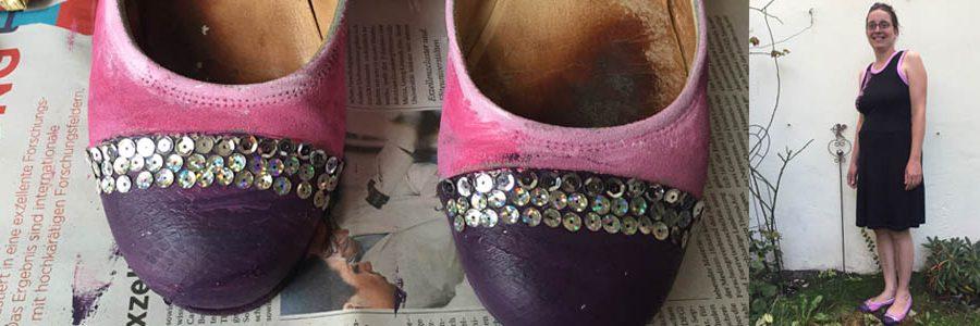 Schuhe passend zum Kleid anmalen, Schuhe mit Farbe und Pailletten verzieren, besondere Schuhe für Karneval und Party machen,