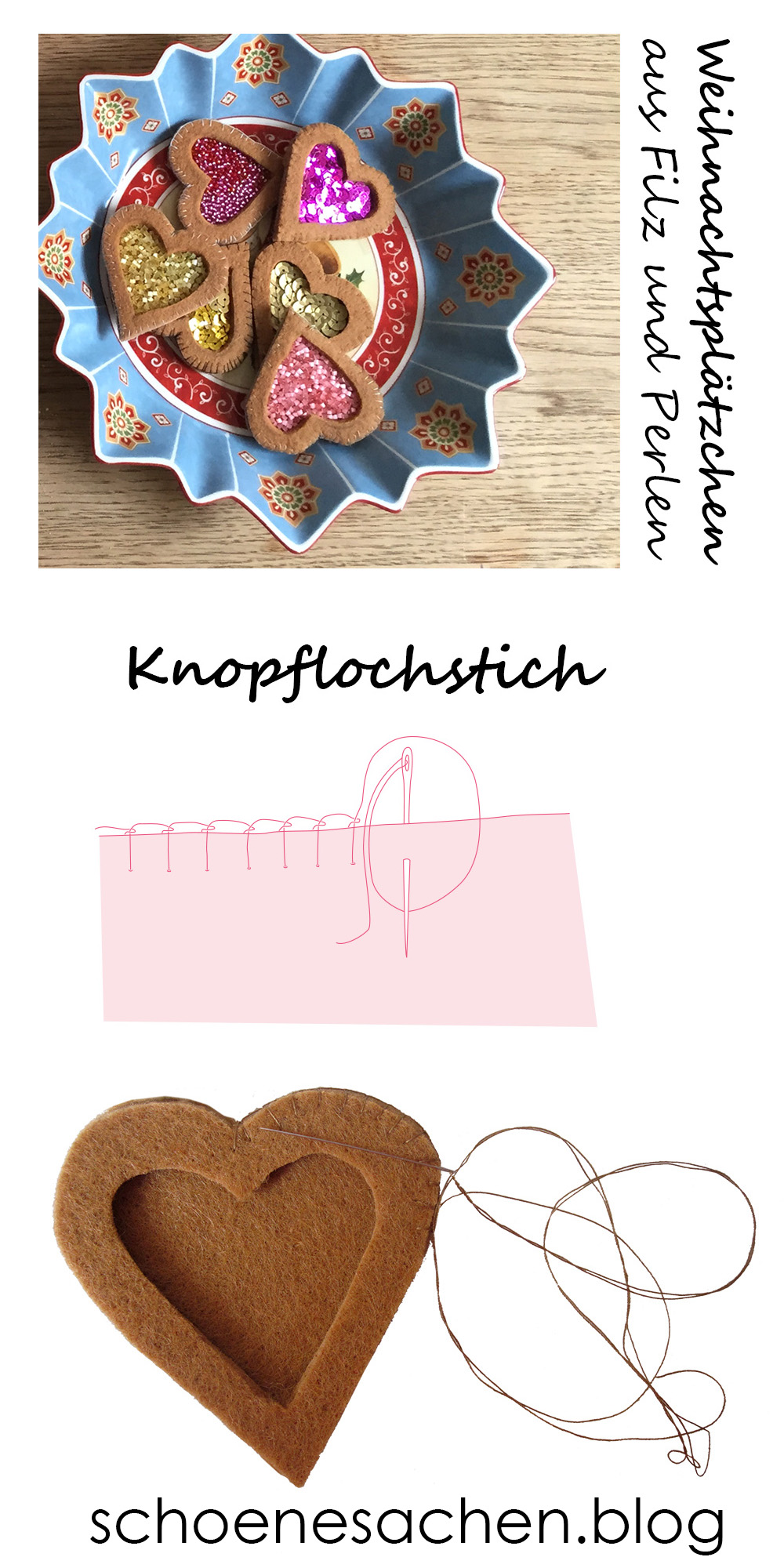 dicken Filz mit der Hand nähen, einfache Stickstiche, sticken für Anfänger, Knopflochstich blanket stitch nähen,