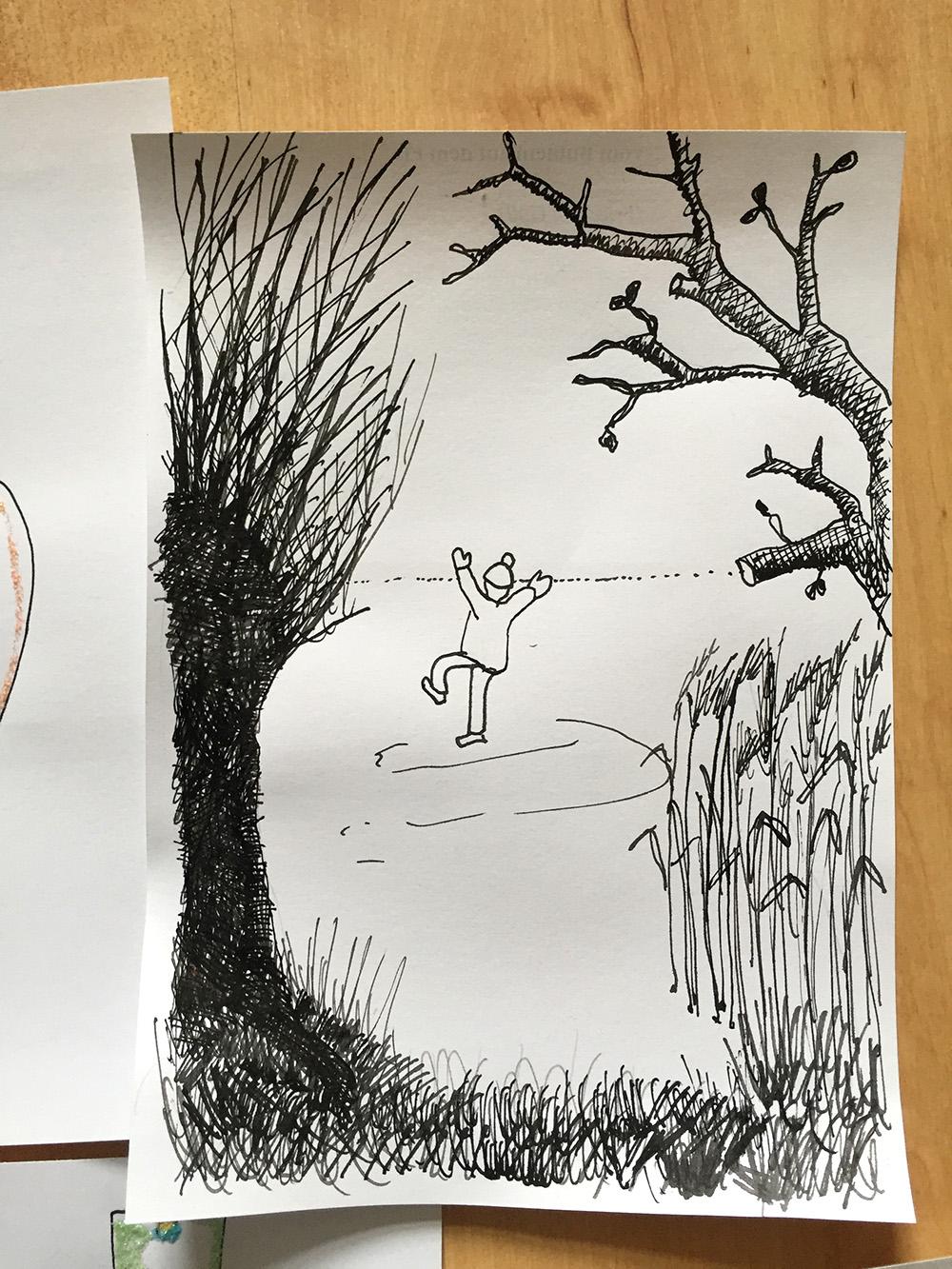 Adventskalender mit Gedichten und Zeichnungen,