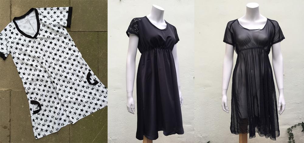 Von links nach rechts: aus dem Schnittmuster für dieses längere Shirt wird in 2 Schritten das figurbetonte Kleidchen ganz rechts.