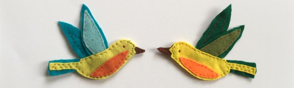 Filz Ornament Vögel nähen, kostenlose Vorlagen für Vögel aus Filz, Vögel aus Filz nähen, mit der Hand nähen, ausführliche Anleitung für Anfänger, einfaches DIY-Projekt für Näh-Anfänger