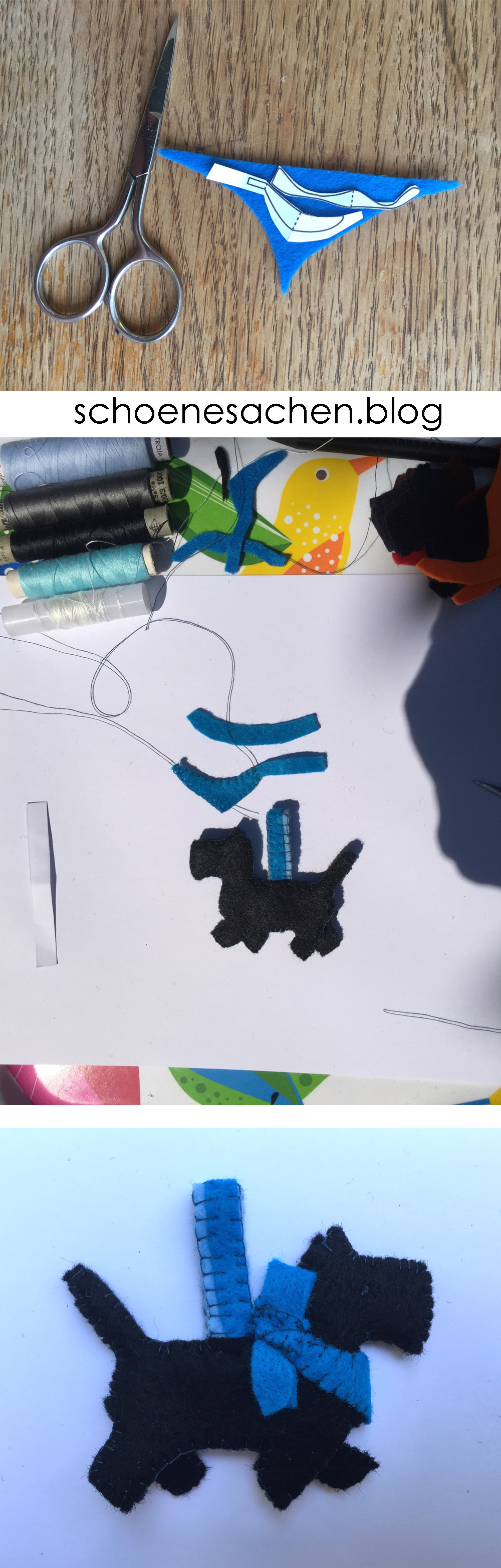 besonderes Filz Ornament nähen, Hund mit Halstuch als Schlüsselanhänger nähen,