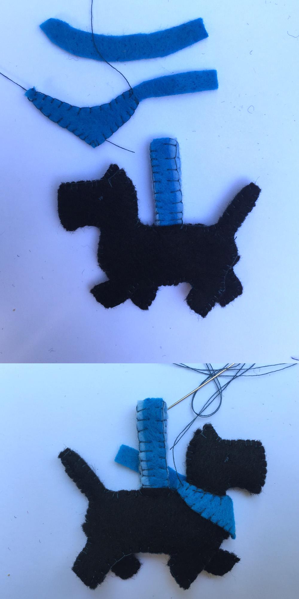 besonderes Filz Ornament nähen, Hund aus Filz nähen als Schlüsselanhänger,