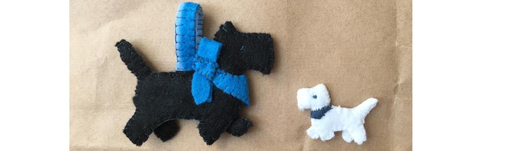Kuscheltiere nähen Anfänger, kleiner Hund aus Filz mit Vorlage, nähen mit der Hand Filz, kleinen Hund aus Stoff als Anhänger Ohrring,