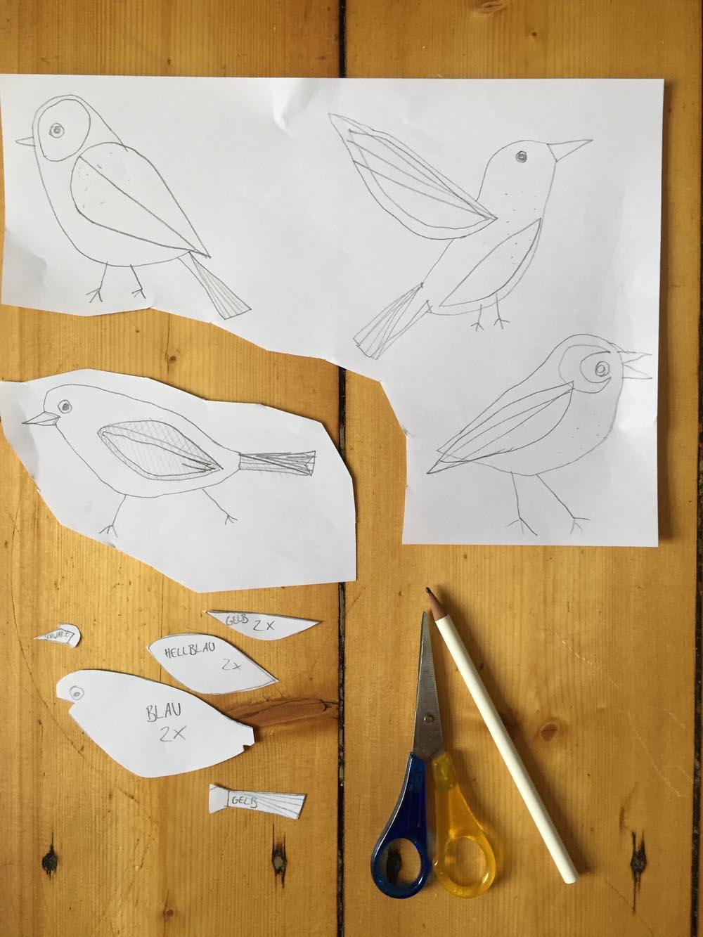 Einfache Vögel Aus Filz Nähen 1 Die Vorlagen Selber Zeichnen
