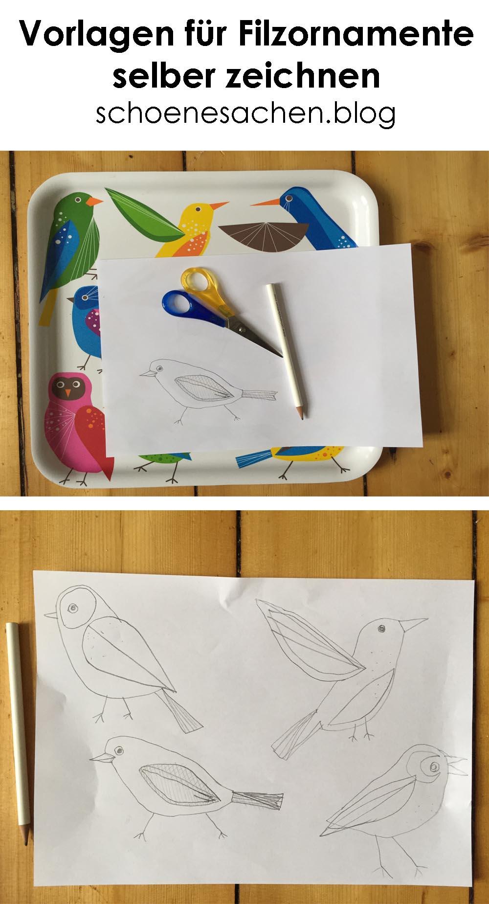 schöne Filz Ornamente, Ornamente aus Filz nähen, schöne Dekoration aus Filz nähen, Schnittmuster selber machen, Vögel aus farbigem Filz nähen, Schnittteile selber zeichnen,