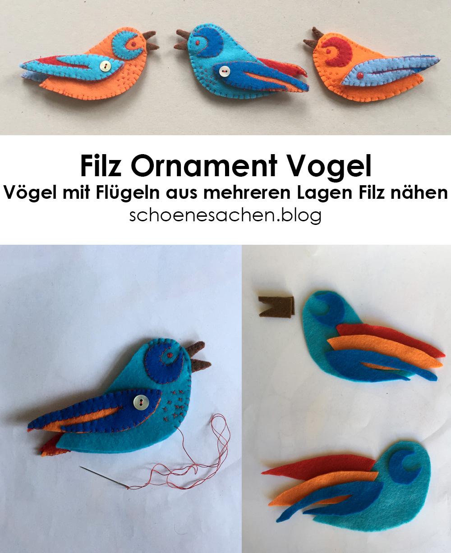 Filz Ornament Vogel Vorlagen, Vogel aus Filz nähen, einfache Vorlage Kuscheltier nähen, Filz mit der Hand nähen,