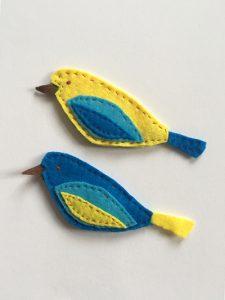 Filz Ornament Vogel nähen, Vögel aus Filz nähen, mit der Hand nähen, kostenlose Anleitung sticken für Anfänger,