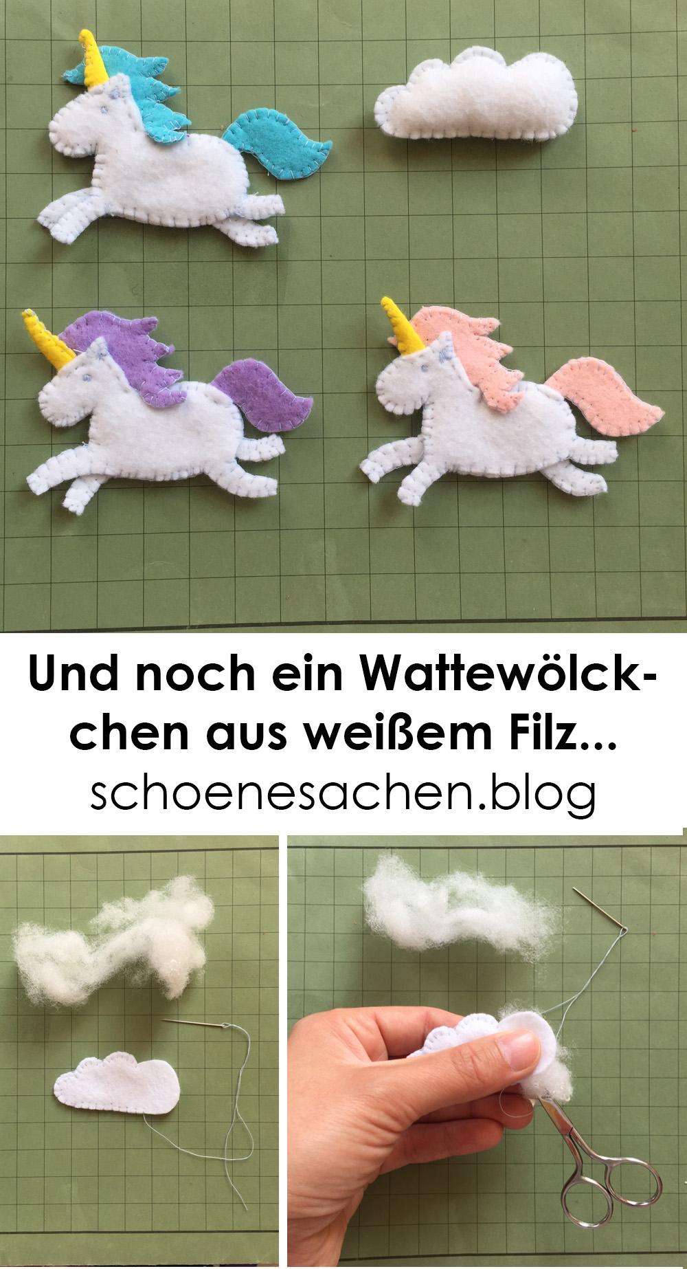 Filz Ornament Einhorn Vorlage, einfaches Einhorn aus Filz nähen, Filzornament Wolke aus weißem Filz nähen,