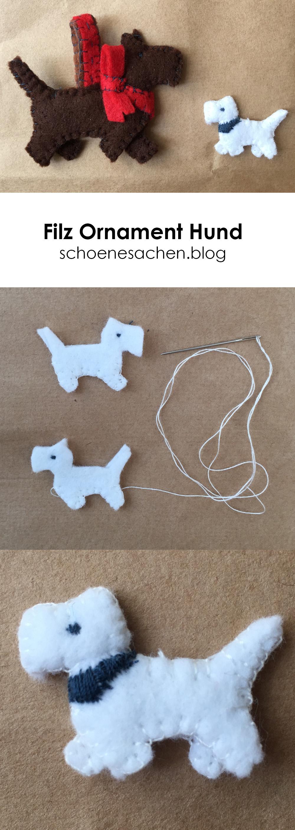 Anleitung kleiner Hund aus Filz, Geschenke aus Stoffresten, nähen mit der Hand, einfache Nähanleitung für Filz Ornament,