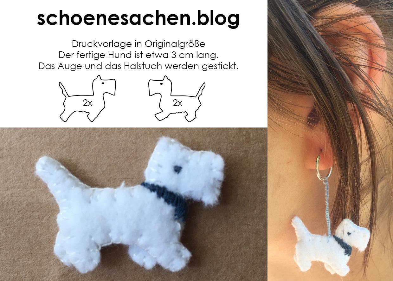 Minihund aus Stoff nähen, mit der Hand nähen, Geschenk aus Filz Ohrring Anhänger,