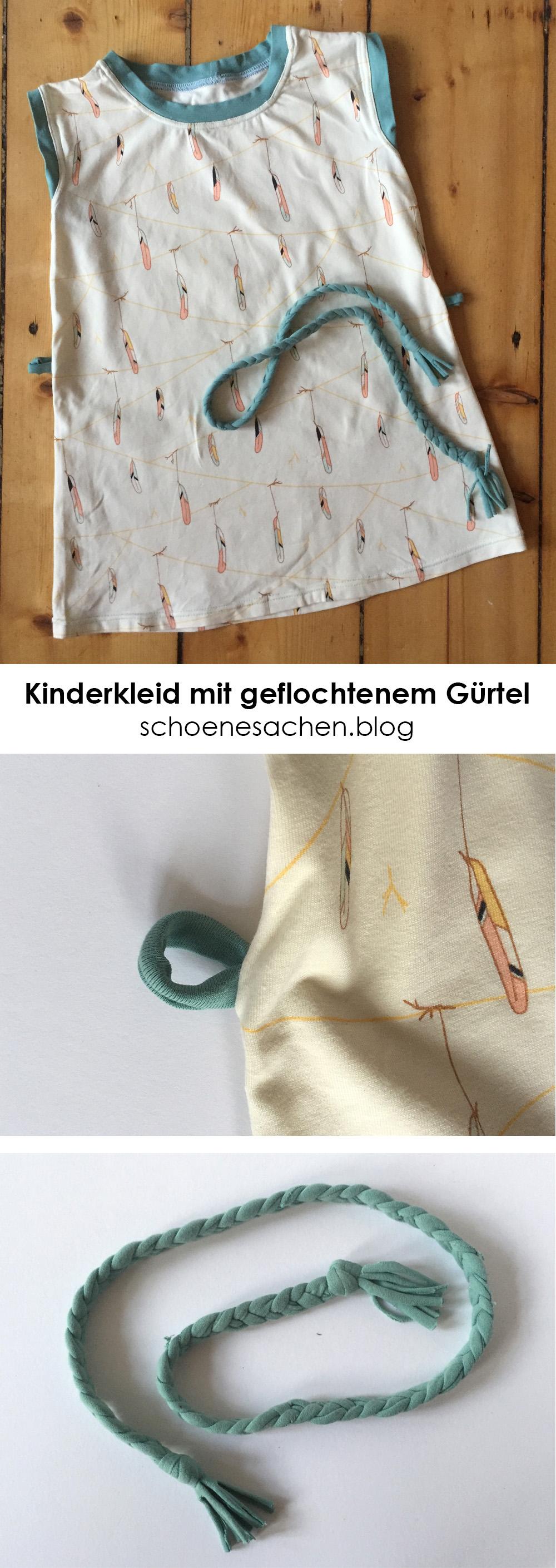 schlichtes Kinderkleid mit Gürtel nähen, Gürtel aus Stoff flechten, Stoffgürtel für Kleid selber machen, Gürtel mit passenden Gürtelschlaufen nähen,