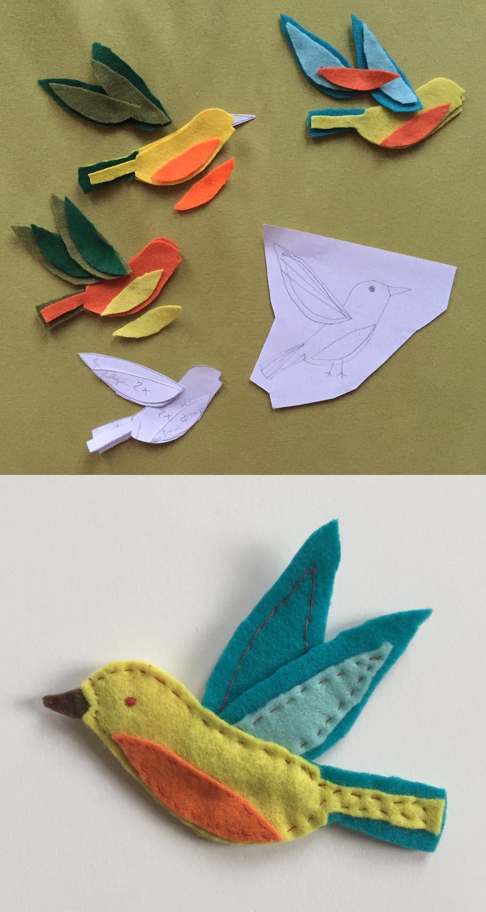 Filz Ornament Vogel nähen, Filzornament Vogel aus Filz nähen mit Vorlage, einfachen Vogel aus Stoff nähen,