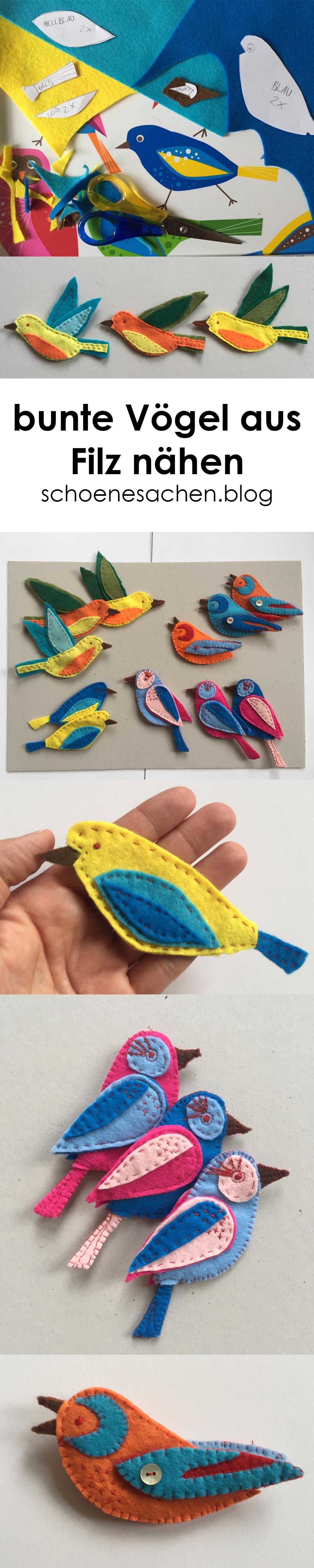 Filz Ornament Vogel Vorlage, einfachen Vogel aus Filz nähen, Schnittmuster für ein Vogel aus Filz selber zeichnen, einfaches Filz Ornament Anfänger nähen, Nähanleitung Vogel aus dünnem Filz nähen,